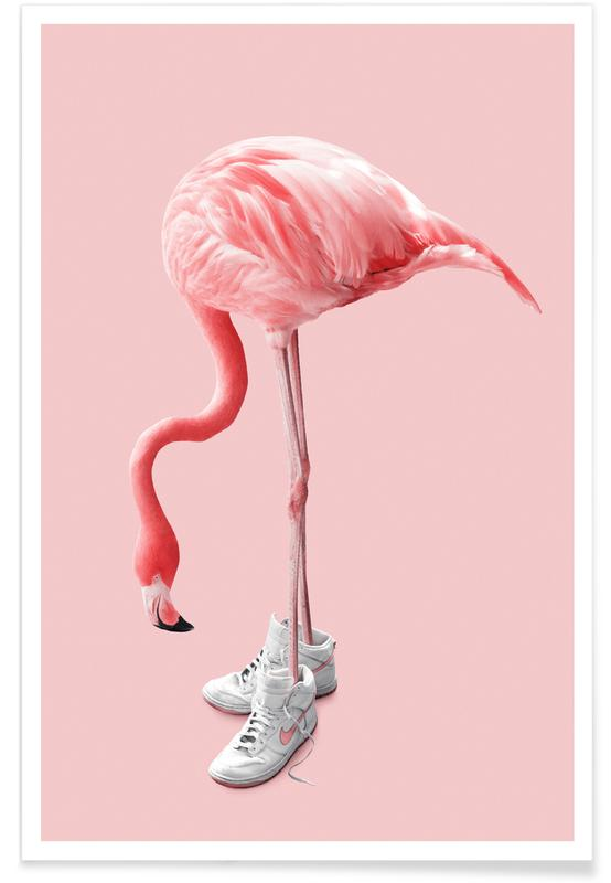Sneaker Flamingo Poster