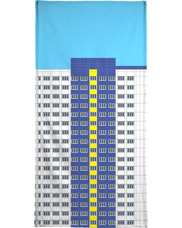 Plattenbau Blau Beach Towel