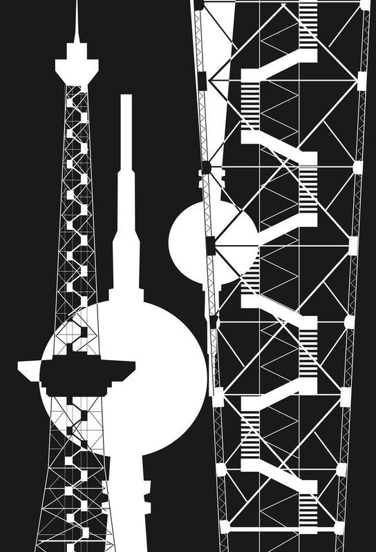 Berliner Fernsehturm & Funkturm  2 Impression sur alu-Dibond