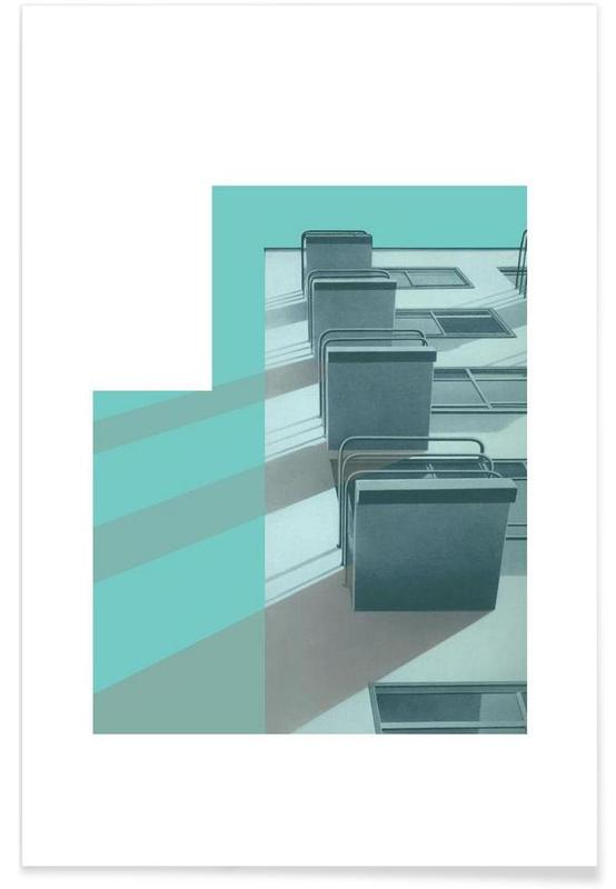 Bauhaus Blue Balconies Poster