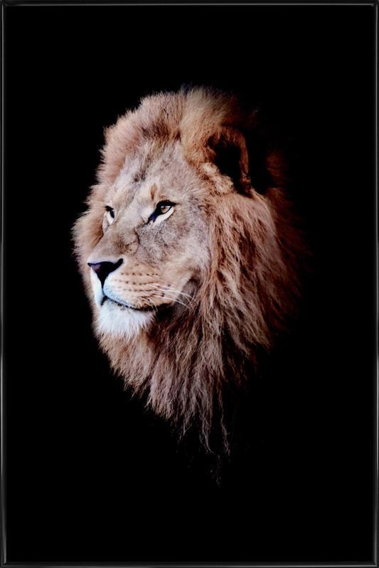 Dark Lion Head Colorized ingelijste poster