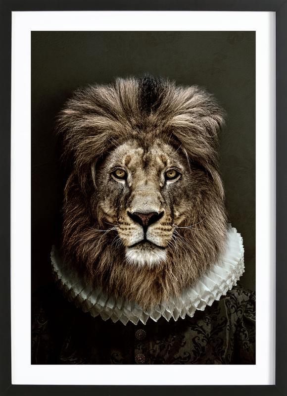 Classy Lion -Bild mit Holzrahmen
