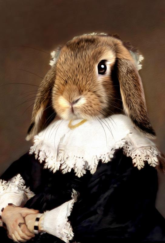 Miss Bunny Rabbit tableau en verre