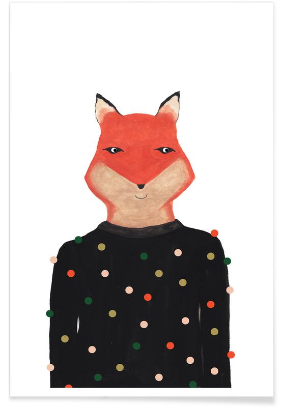 Fox with Sweater Poster
