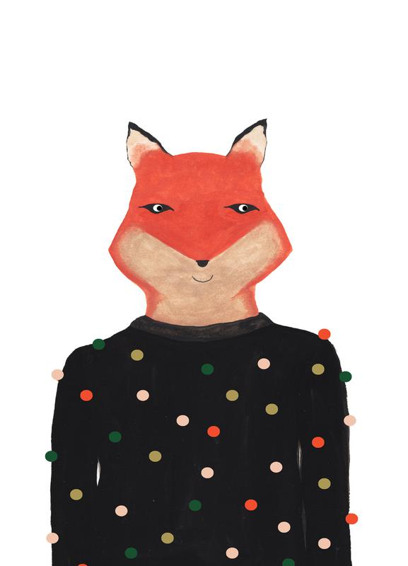 Fox with Sweater canvas doek