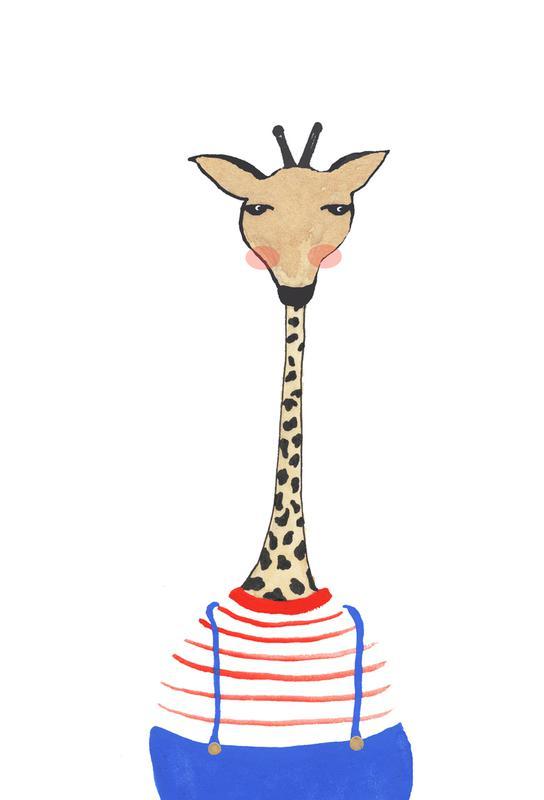 Giraffe with Clothes Aluminium Print