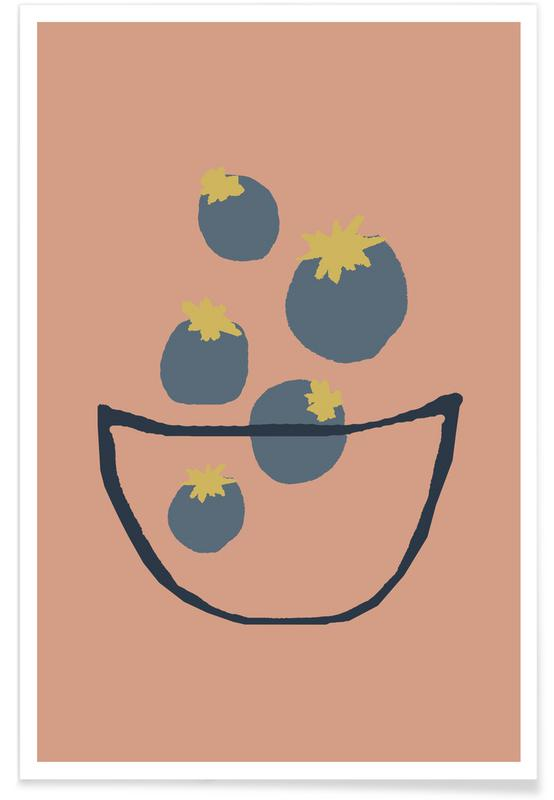 Joyful Fruits - Blueberries Poster