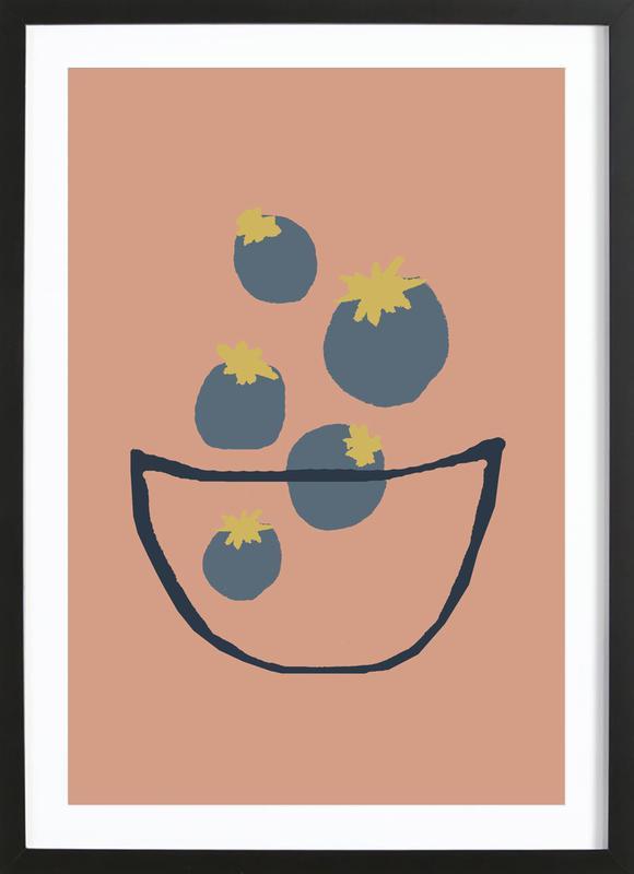 Joyful Fruits - Blueberries -Bild mit Holzrahmen