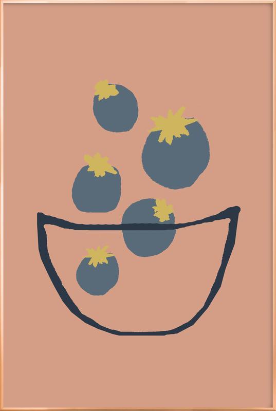 Joyful Fruits - Blueberries Poster in Aluminium Frame