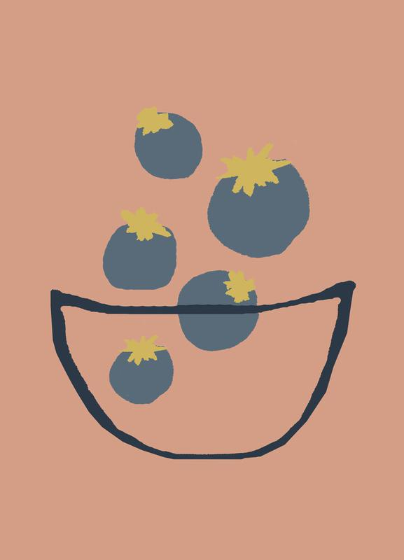 Joyful Fruits - Blueberries canvas doek