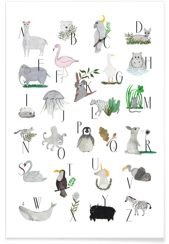 Animals with Letters Poster