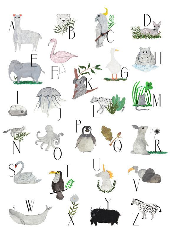 Animals with Letters -Leinwandbild