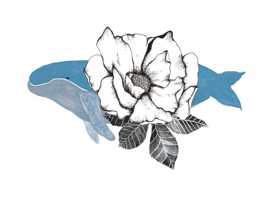 Floral Whale -Leinwandbild