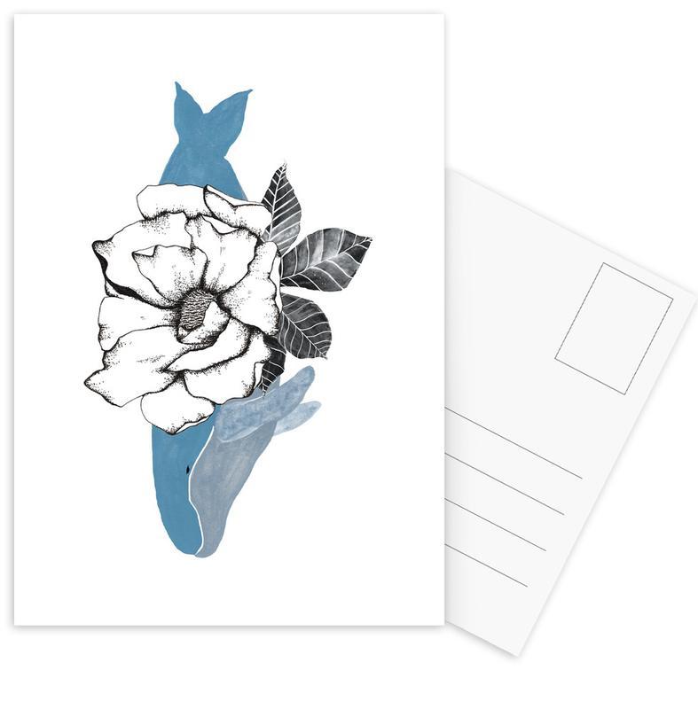 Floral Whale Postcard Set