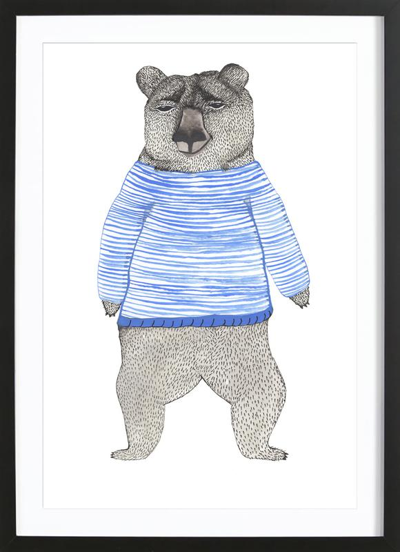 Bear with Stripes Framed Print