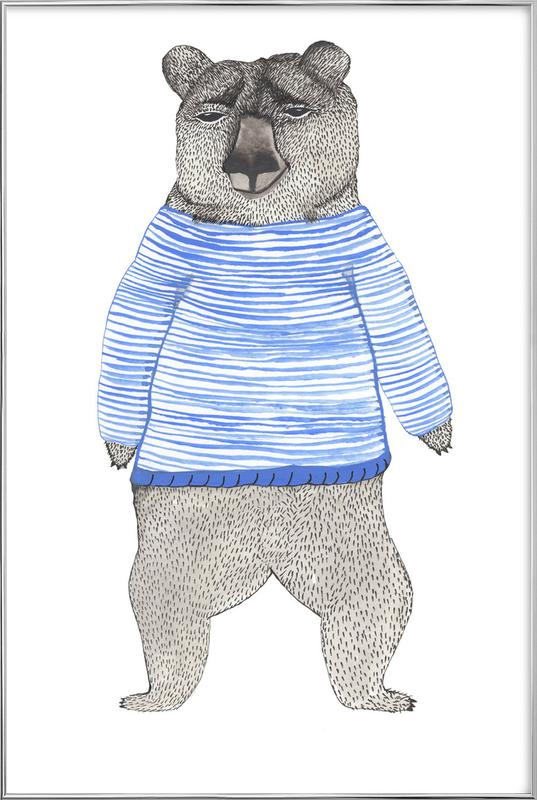Bear with Stripes poster in aluminium lijst