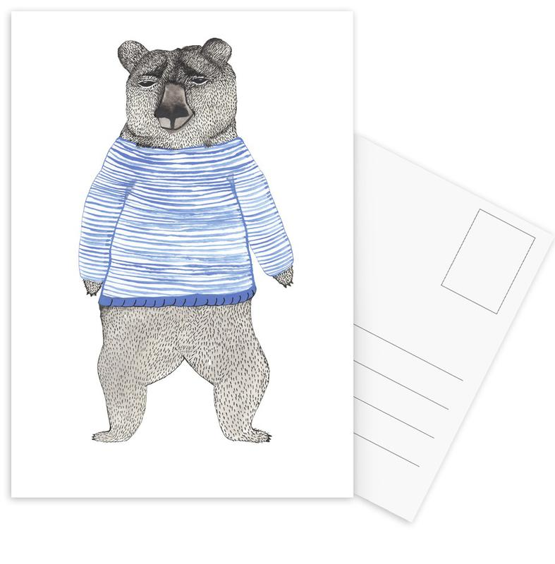 Bear with Stripes Postcard Set