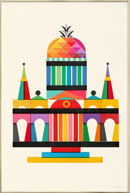 Pineapple Cathedral Architecture poster in aluminium lijst