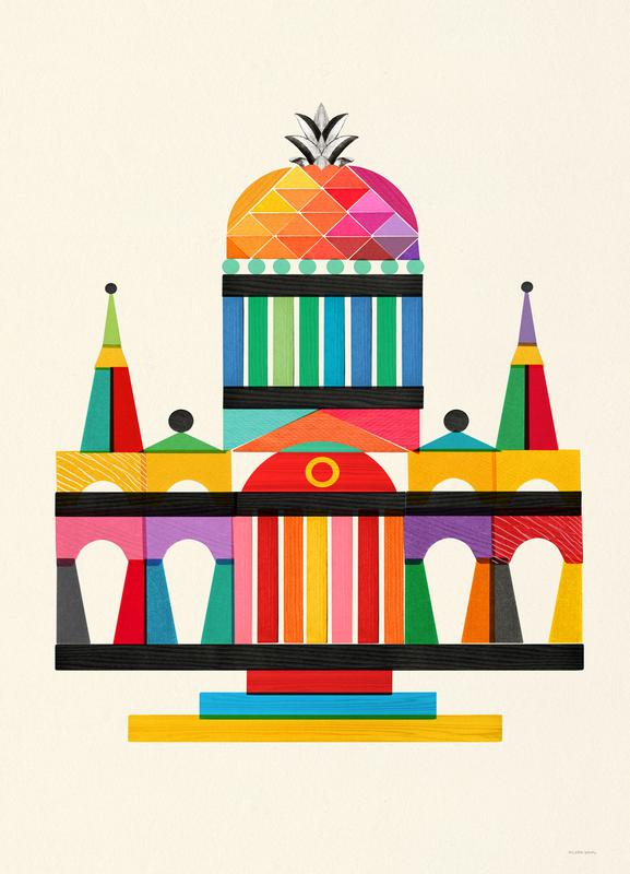 Pineapple Cathedral Architecture canvas doek