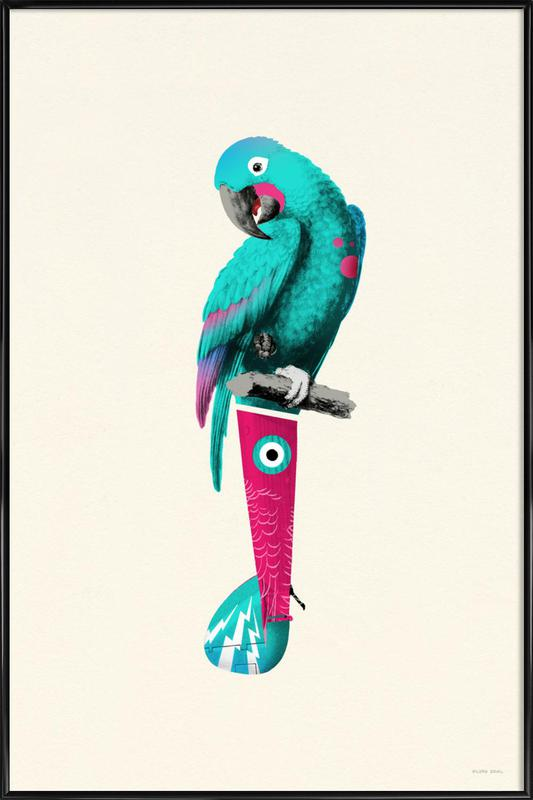 Tropical Turquoise Parrot -Bild mit Kunststoffrahmen