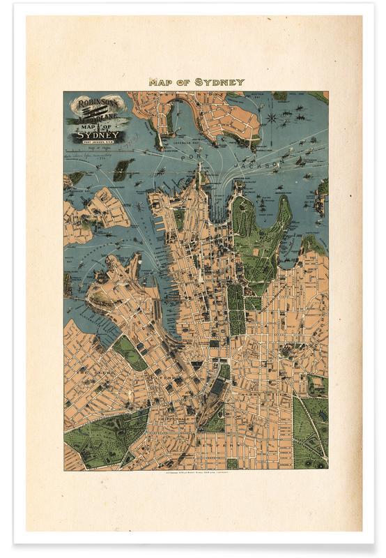 Sydney, Australië, 1922 - stadskaart poster