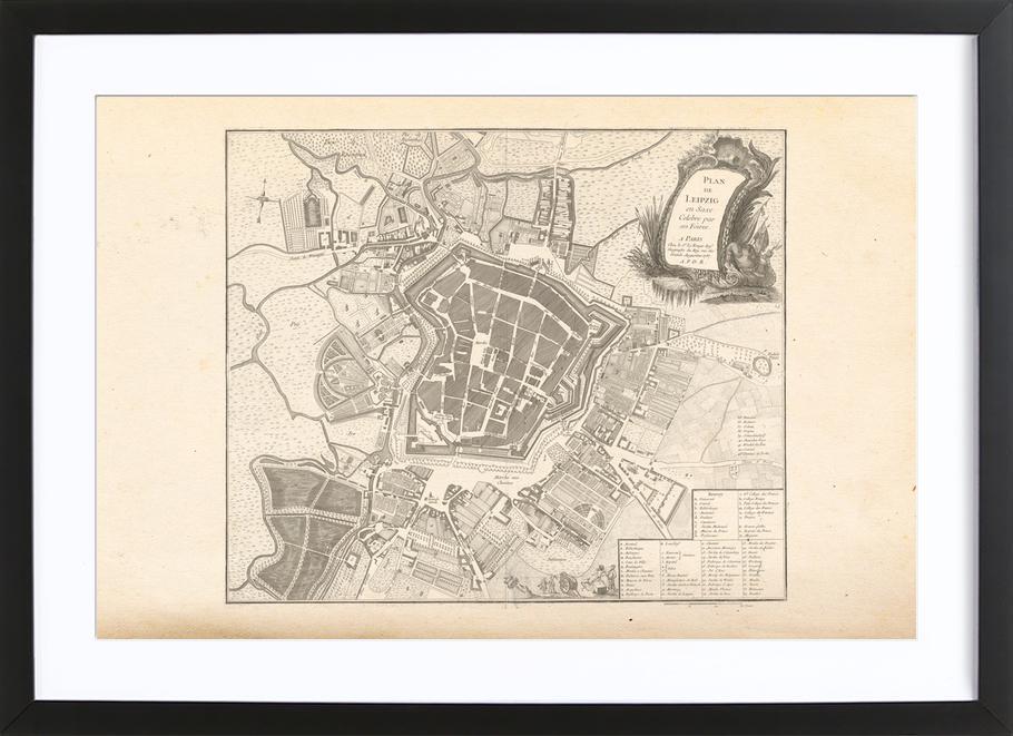 Leipzig, Germany, 1757 -Bild mit Holzrahmen