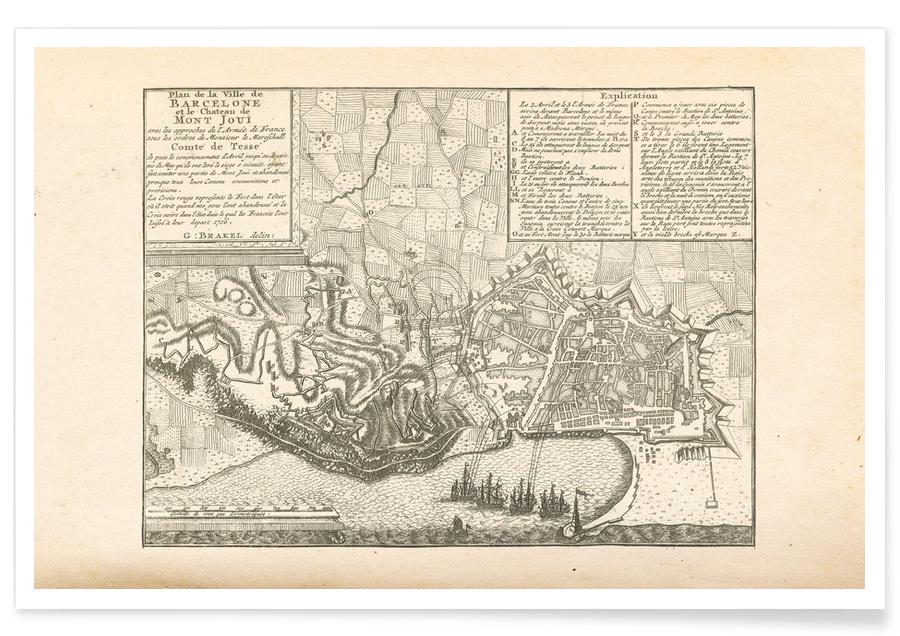 Barcelona, Spain, 1706 Map Poster