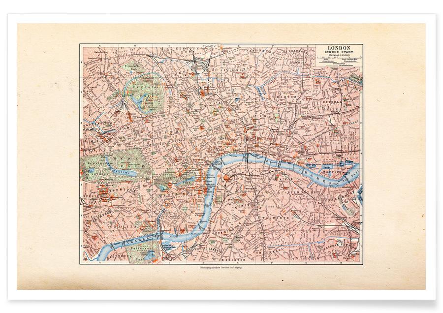 Londen, Verenigd Koninkrijk, 1899 - stadskaart poster