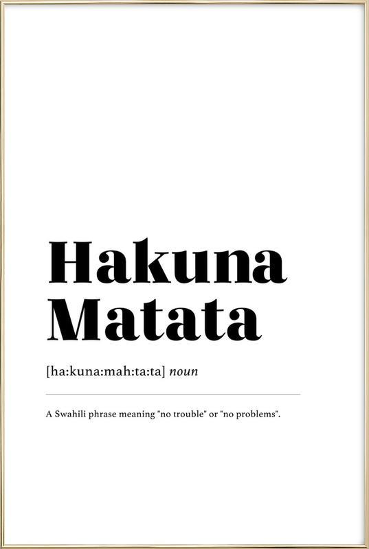 Hakuna Matata affiche sous cadre en aluminium