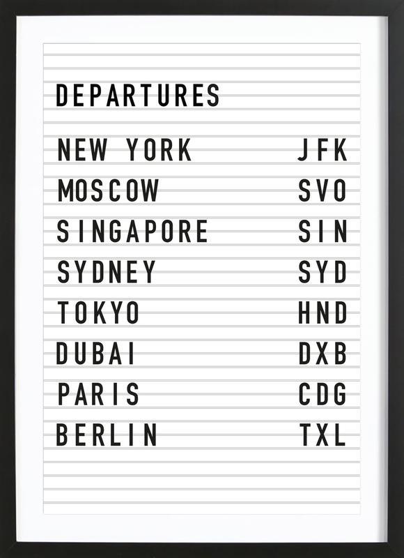 Departure New York affiche sous cadre en bois