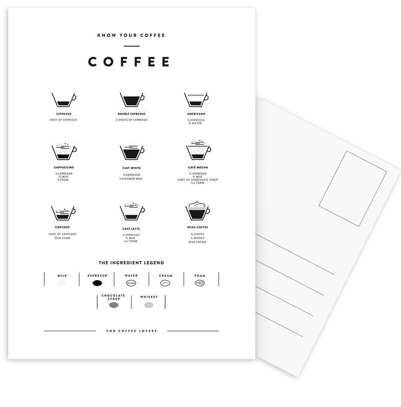 Coffee Chart Postcard Set