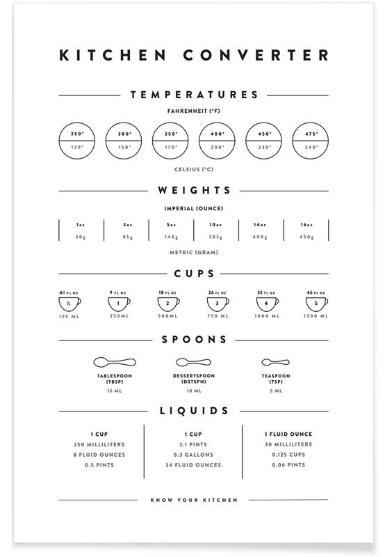 Kitchen Conversion Measurements affiche