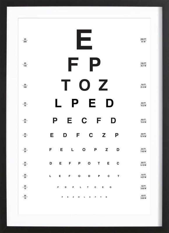 Eye Chart affiche sous cadre en bois