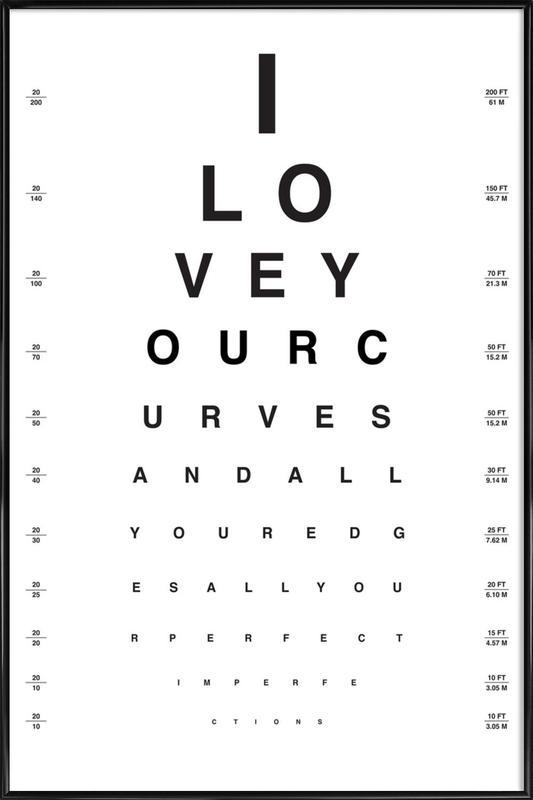 Eye Chart I Love You -Bild mit Kunststoffrahmen