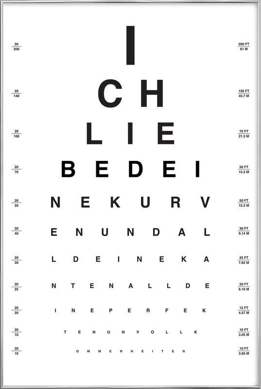 Eye Chart Ich Liebe Dich -Poster im Alurahmen