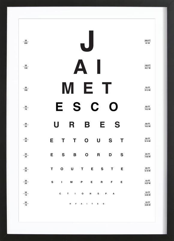 Eye Chart Je t'aime -Bild mit Holzrahmen