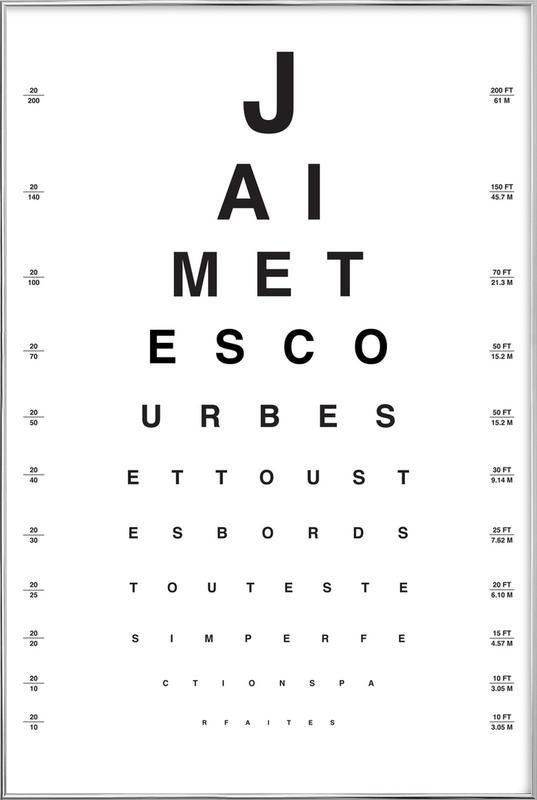 Eye Chart Je t'aime affiche sous cadre en aluminium