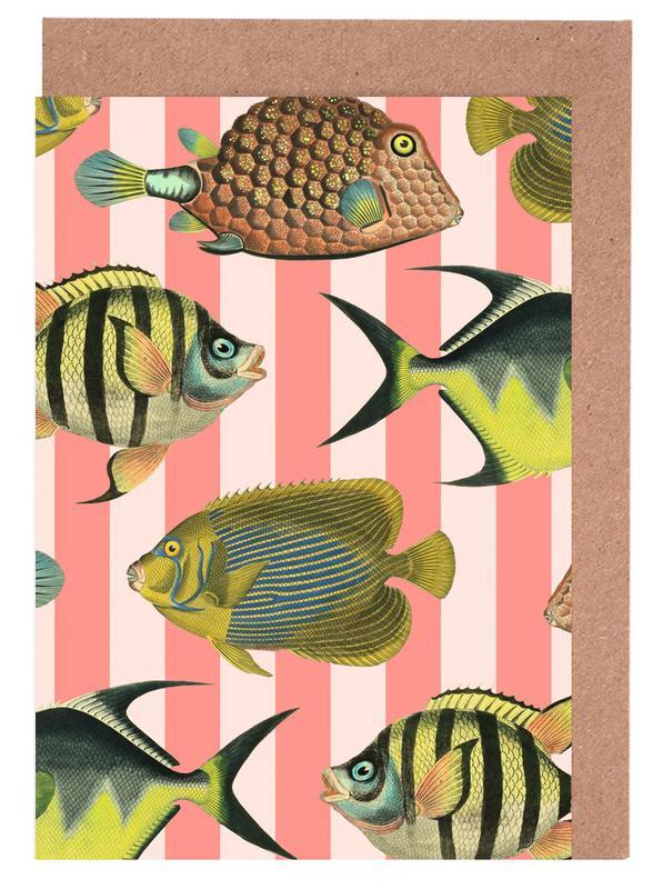 Pattern Fish Stripes Greeting Card Set