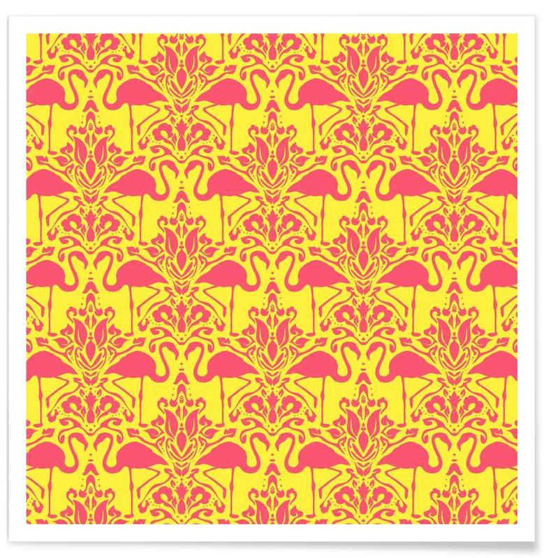 Flamingo Damask - yellow Poster