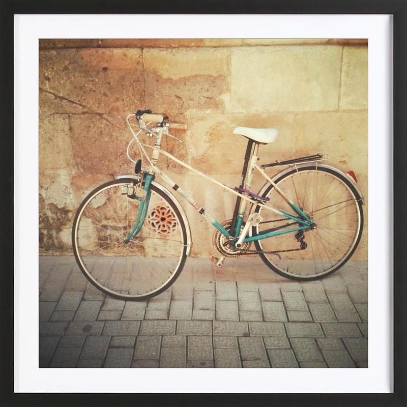 La Bicicleta -Bild mit Holzrahmen