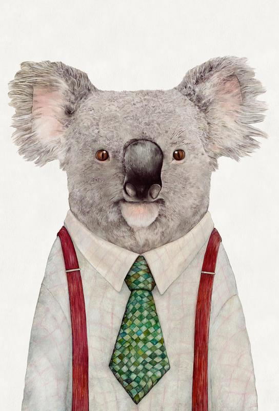 Koala Firefighter Alu Dibond Druck