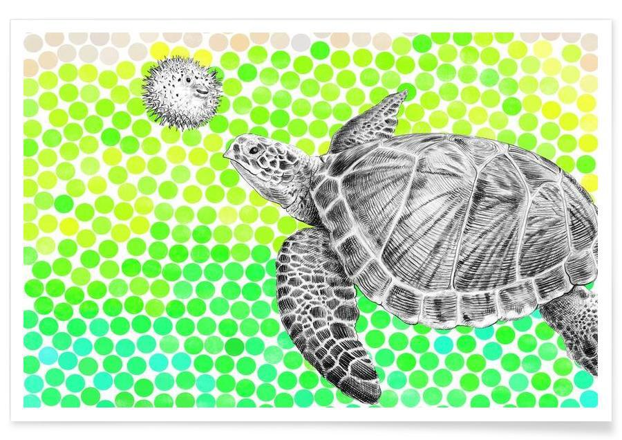 Turtle and Pufferfish Poster