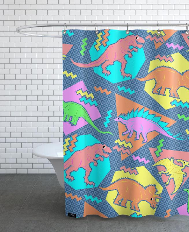 90's Dinosaur Pattern Shower Curtain