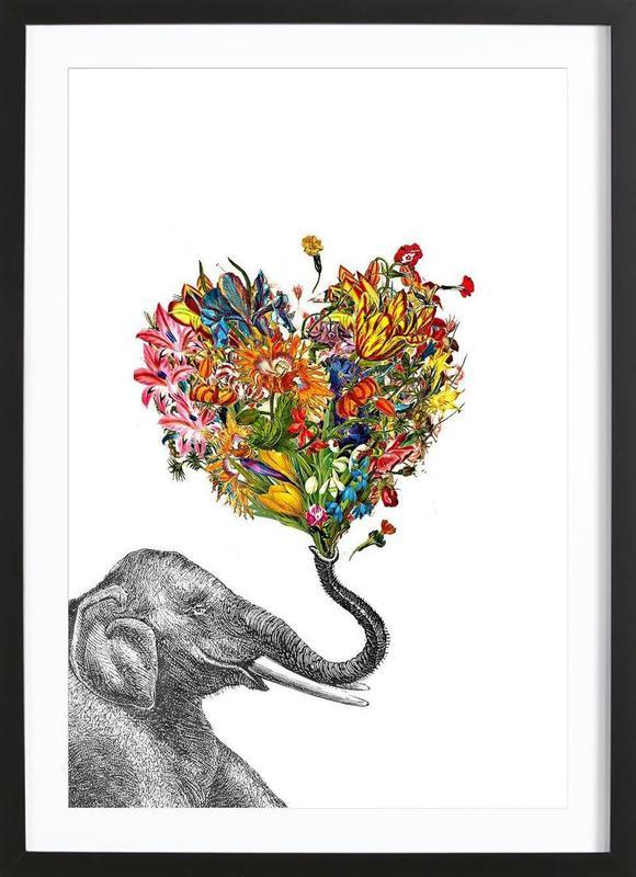 The Happy Elephant Premium Poster gerahmt | Dekoration > Bilder und Rahmen > Poster | Mehrfarbig