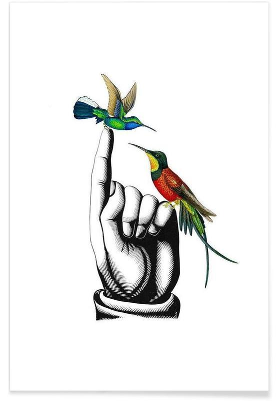 Hummingbirds on hand poster