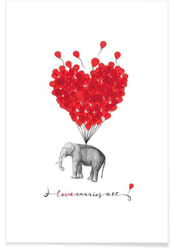 Love carries all - elephant affiche