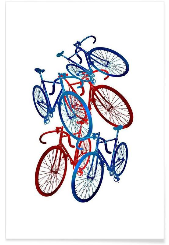 Red and blue bicycles affiche