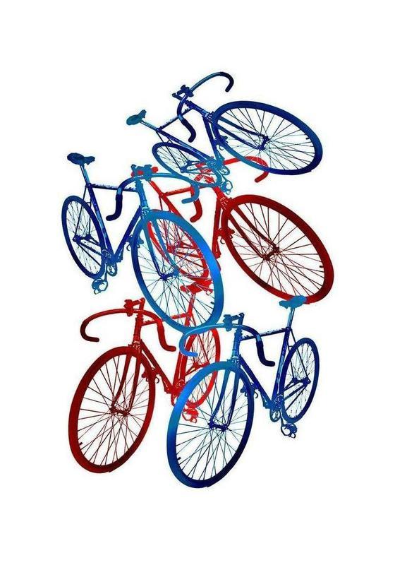 red and blue bicycles leinwandbild