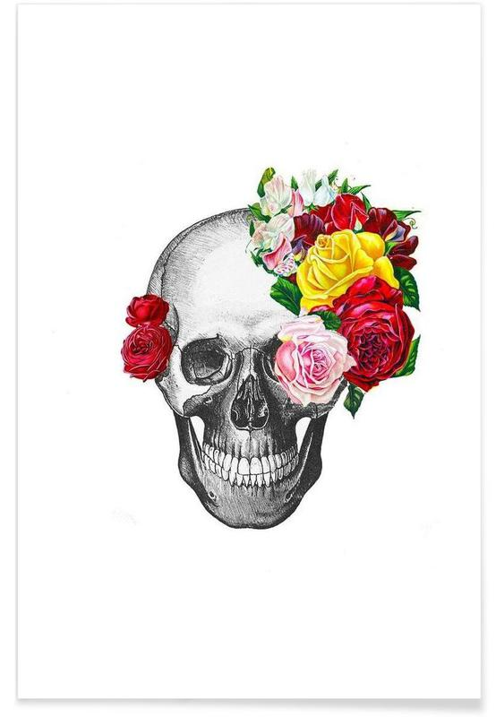 Skull with roses affiche