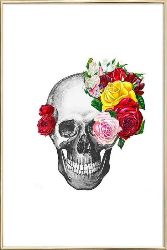 Skull with roses Poster in Aluminium Frame